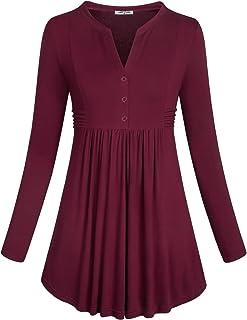SeSe Code Women's Long Sleeve Mandarin Collar Shirt Empire Waist Peplum Tunic Tops
