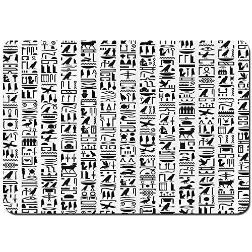 YANAIX Alfombra de Baño,Escritura Jeroglífica Egipcia Composición Monocromática Viejos Signos,Súper Suave Multiuso...