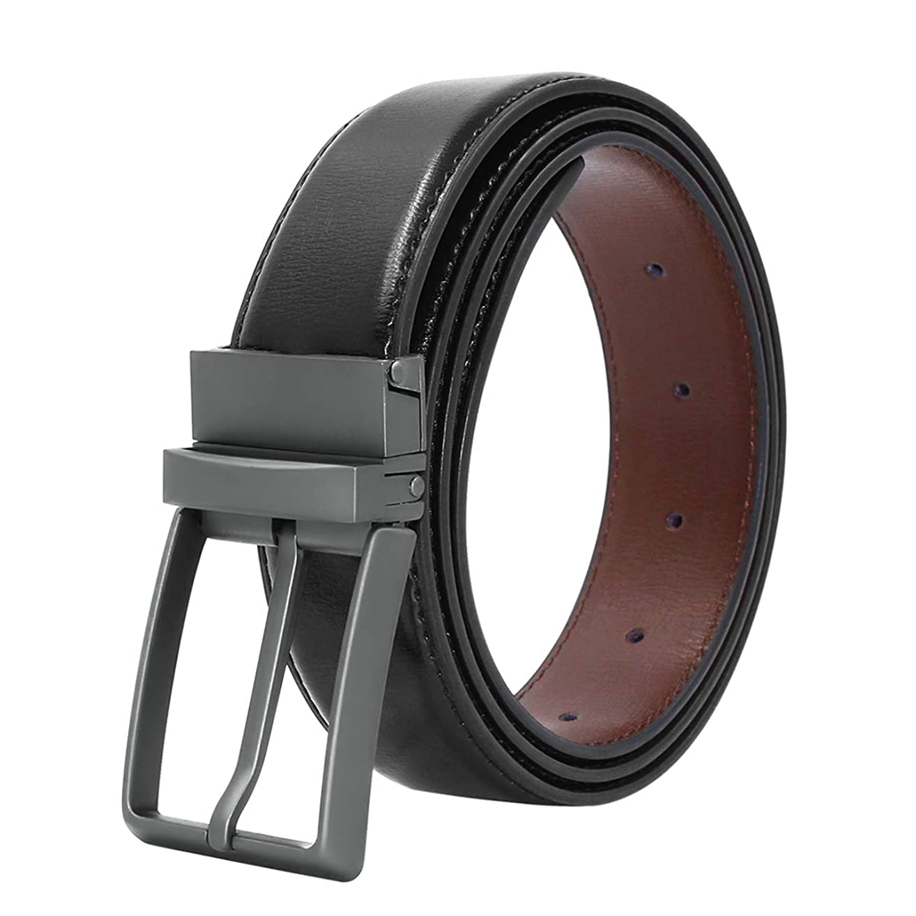 Men's Genuine Leather Dress Belt Reversible with Single Prong Rotated Buckle Gift Box