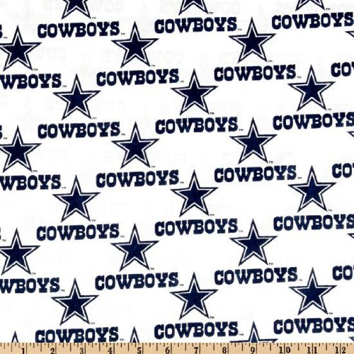Quilt Fabric Traditions NFL Cotton Broadcloth Dallas Cowboys White Quilt Fabric By The Yard