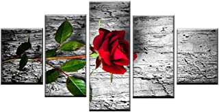 OJILKT Hd Print Wall Art Canvas Picture Home Decor 5 Panel Beautiful Stone Flower Painting Modular Rose Nordic Poster Frame-Size3-Framed