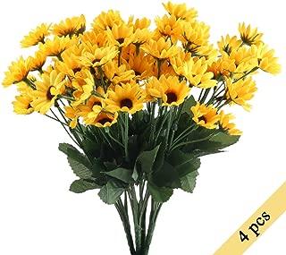 NAHUAA 4PCS Mini Artificial Silk Sunflowers Bundles Fake Flowers Bouquets Fuax Floral Table Centerpieces Arrangements Decor Wedding Home Kitchen Office Windowsill Spring Decorations
