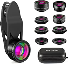 ZOETOUCH Cell Phone Camera Lens, 9 in 1 Camera Lens Kit Includes Fisheye Lens/ Telephoto Lens/ Wide Angle Lens/ Macro Lens/ CPL/ Kaleidoscope / Starburst Lens for iPhone, Samsung, Nexus, LG, Sony, etc