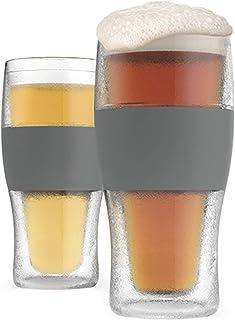 Host Freeze Beer Glasses, 16 ounce Freezer Gel Chiller Double Wall Plastic Frozen Pint..