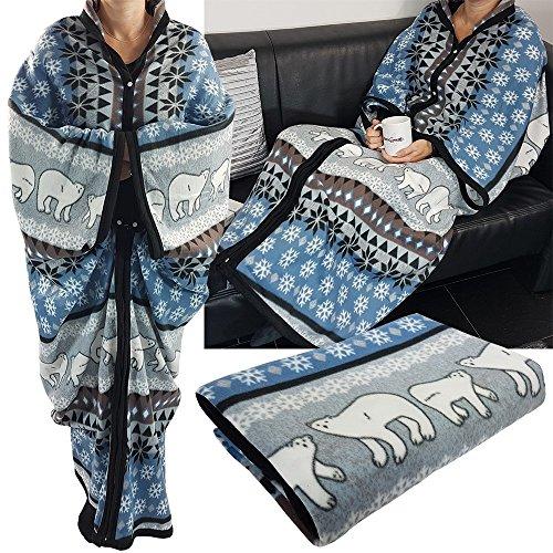 Couverture douillette et chaude « Cozy Bears » Proheim - Plaid à manches - 150x 170cm - Microfibres , Polyester, bleu, 150 x 170 cm