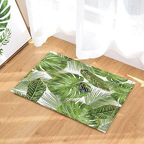 Alfombrilla de baño para niños de 60 x 40 cm, diseño de rana en monstera y hojas de palma, antideslizante, para interior y puerta, ideal para decoración de plantas hawaianas