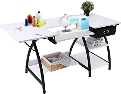 Bahom 2 In 1 Adjustable Sewing Craft Table Desk With Storage Drawer Multifunctional Craft Cutting Table With 2 Shelves Sturdy White Kitchen Dining