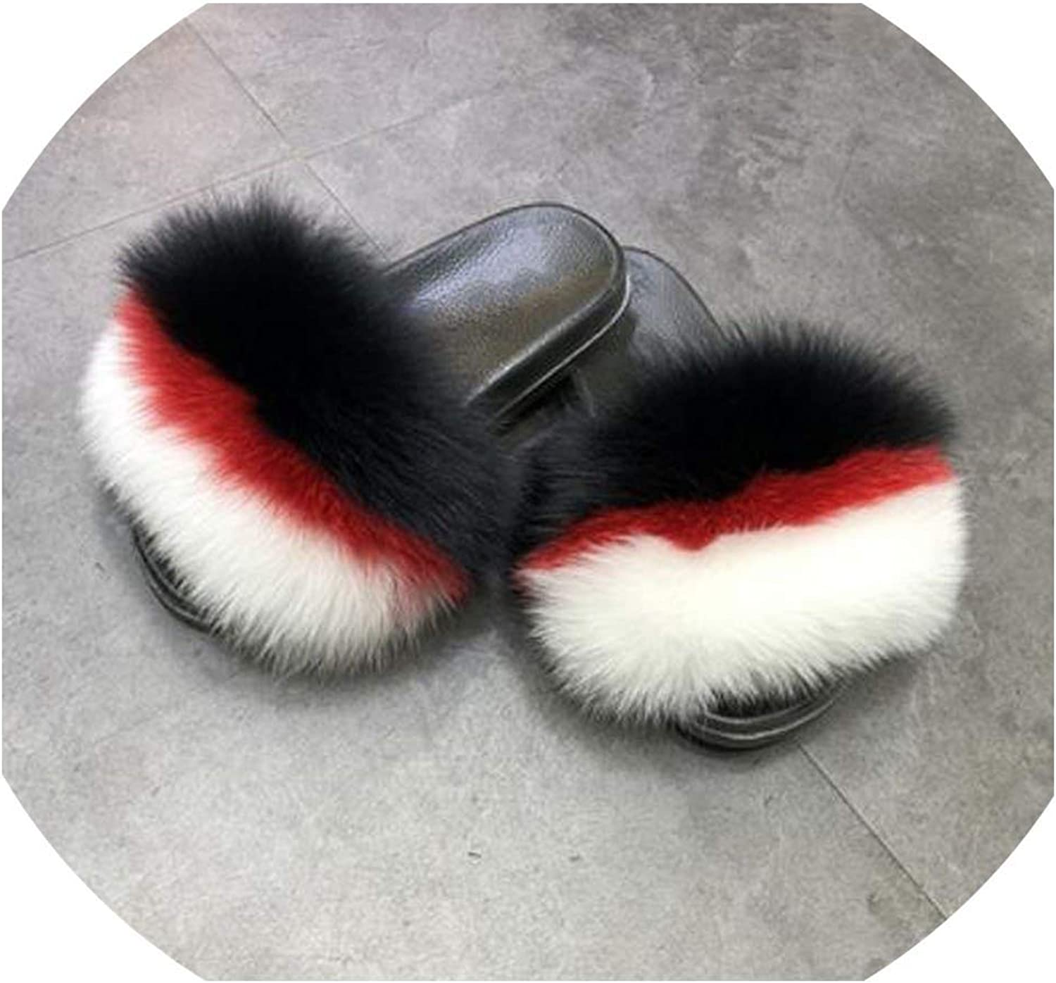 Real Fox Fur Slipper Sliders Spring Summer Autumn Fluffy Fur Lady