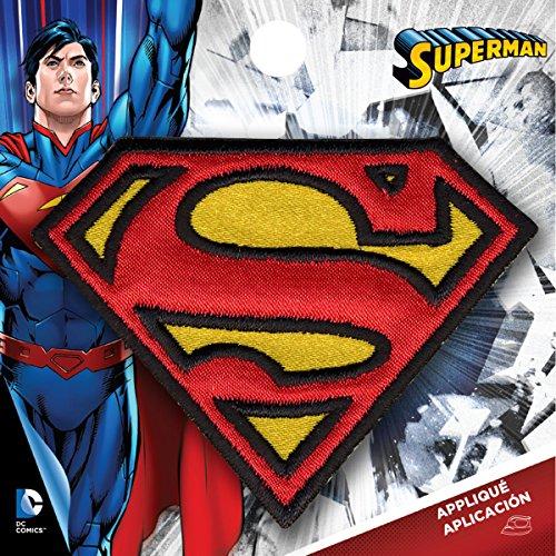 Simplicity Medium Superman Logo Bügelbild Aufnäher, Polyester, Mehrfarbig, 7,98x 0,2x 7.67cm