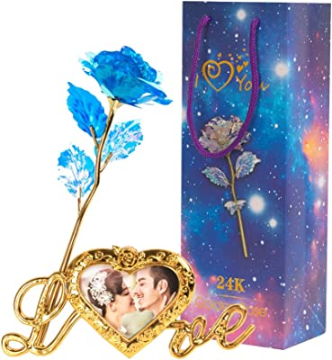MACTING 24k Gold Rose, Artificial Blue Flower Rose Gold Plated Long Stem with Love-Shaped Stand, Colorful Rose Infinity Rose Galaxy Rose Flower Gifts for Girlfriend Wife