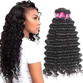 Odir 9A Brazilian Deep Wave Human Hair 3 Bundles 16 18 20 Inch Unprocessed Deep Curly Brazilian Virgin Human Hair Weave Bundles Deep Wave Natural Black Color