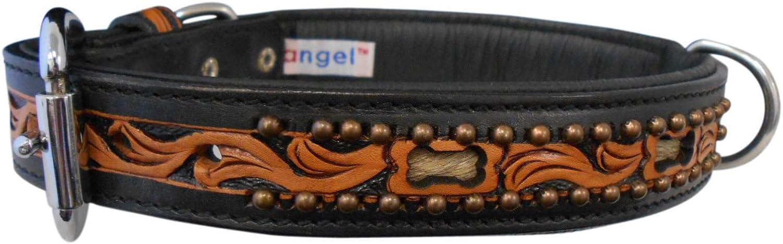 Angel Pet Supplies 11047 Leather San Antonio Dog Collar, 20  X 1 , Midnight Black