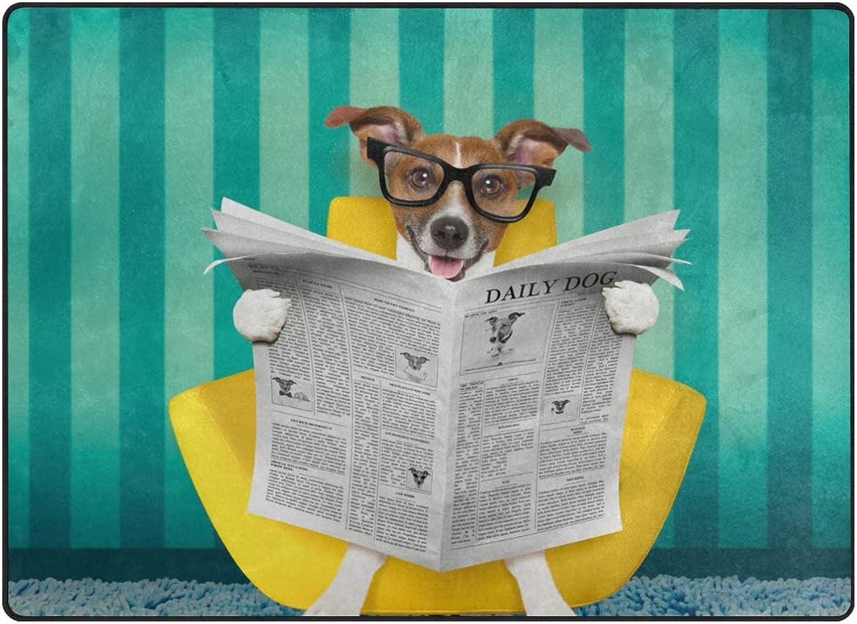 SUABO 80 x 58 inches Area Rug Non-Slip Floor Mat Reading Newspaper Printed Doormats Living Room Bedroom