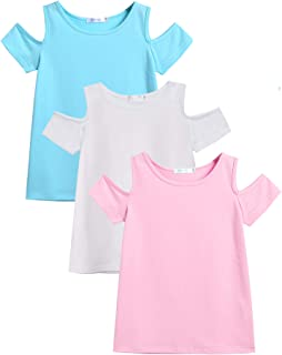 Arshiner 3 Pack Girls Crew Neck Tee Casual Cotton Short-Sleeve T-Shirt Tops with Cold Shoulder