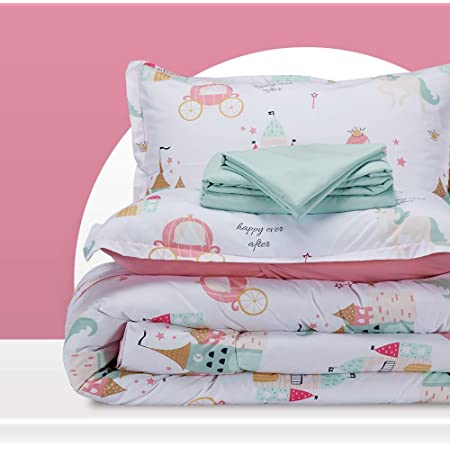 SLEEP ZONE Kids Bed-in-a-Bag Bedding Set Easy-Care Microfiber Ultra Soft Comforter and Sheet Sets with Sham 5 Pieces Princess Castle for Girls, Pink, Twin