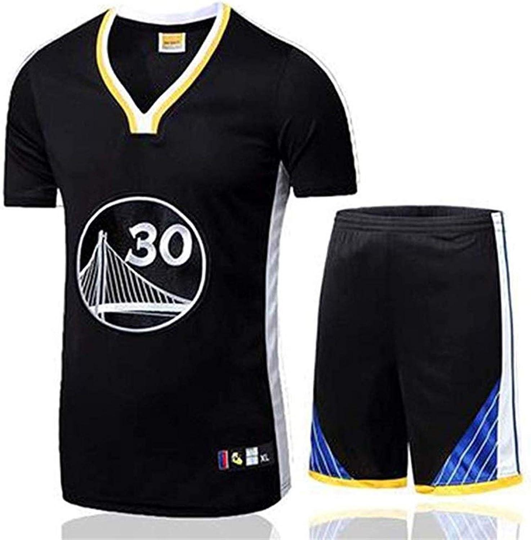 Ldwxxx NBA Herren T-Shirt Trikot Set Golden State Warriors Stephen Curry   30 Basketball T-Shirt Kurzarm Atmungsaktives Sweatshirt Set Schwarz (Größe   XL)