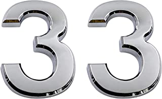 2.75 Inch Adhesive House Numbers, Mailbox Numbers, Street Door Numbers, Self-Stick Address Signs for Apartments, Double Silver Number 3