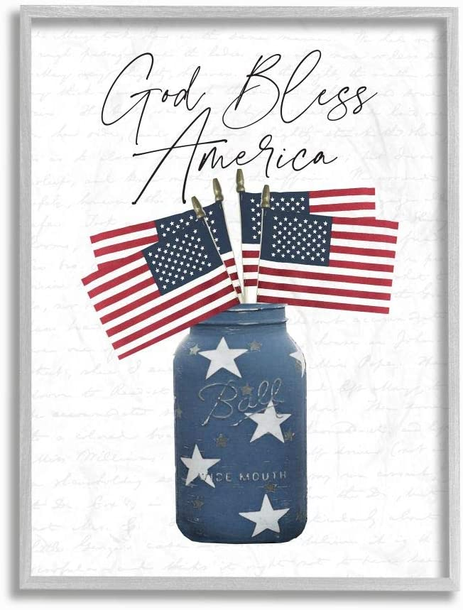 Memphis Mall Stupell Industries Patriotic God Bless High order Quote Country Jar America
