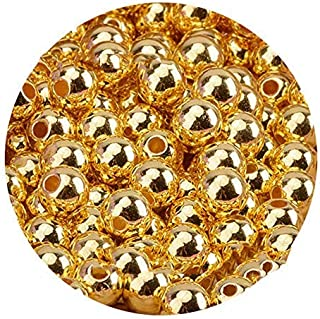 120pcs 8mm Gold Jewelry Making Supplies Beads Plated Smooth Round Mental Spacer Beads Tiny Metal Beads for Necklaces, Brac...
