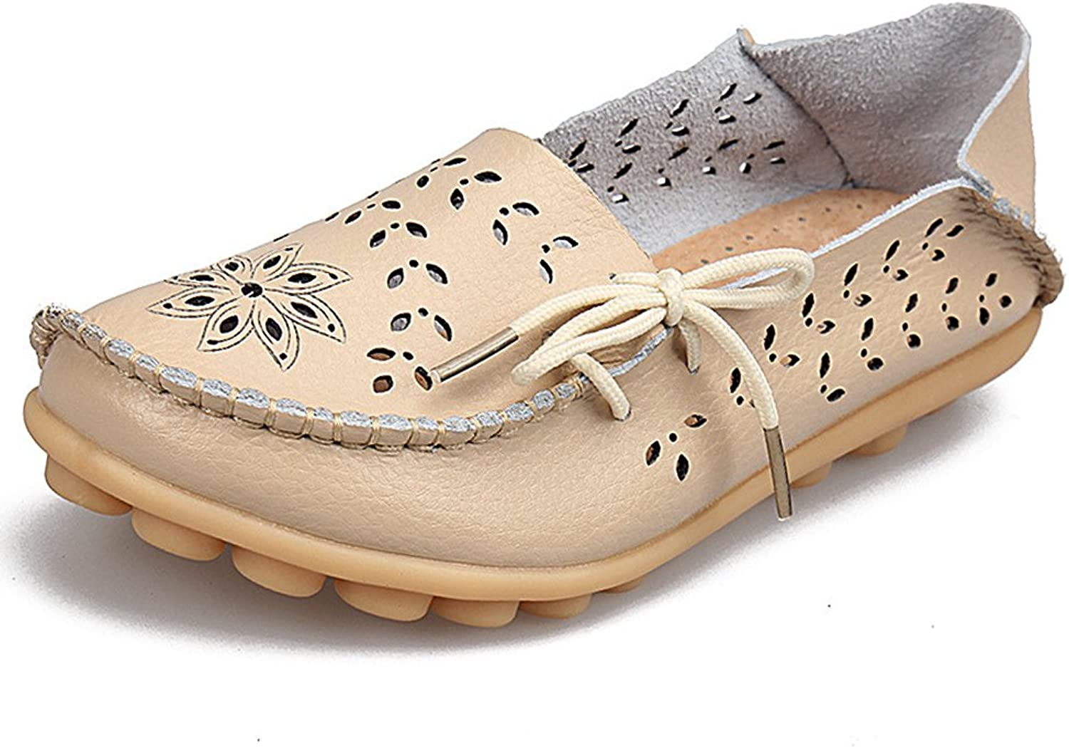 SHIBEVER Women's Leather Loafers Moccasins Wild Driving Casual Flats Oxfords Breathable shoes Beige-2 9