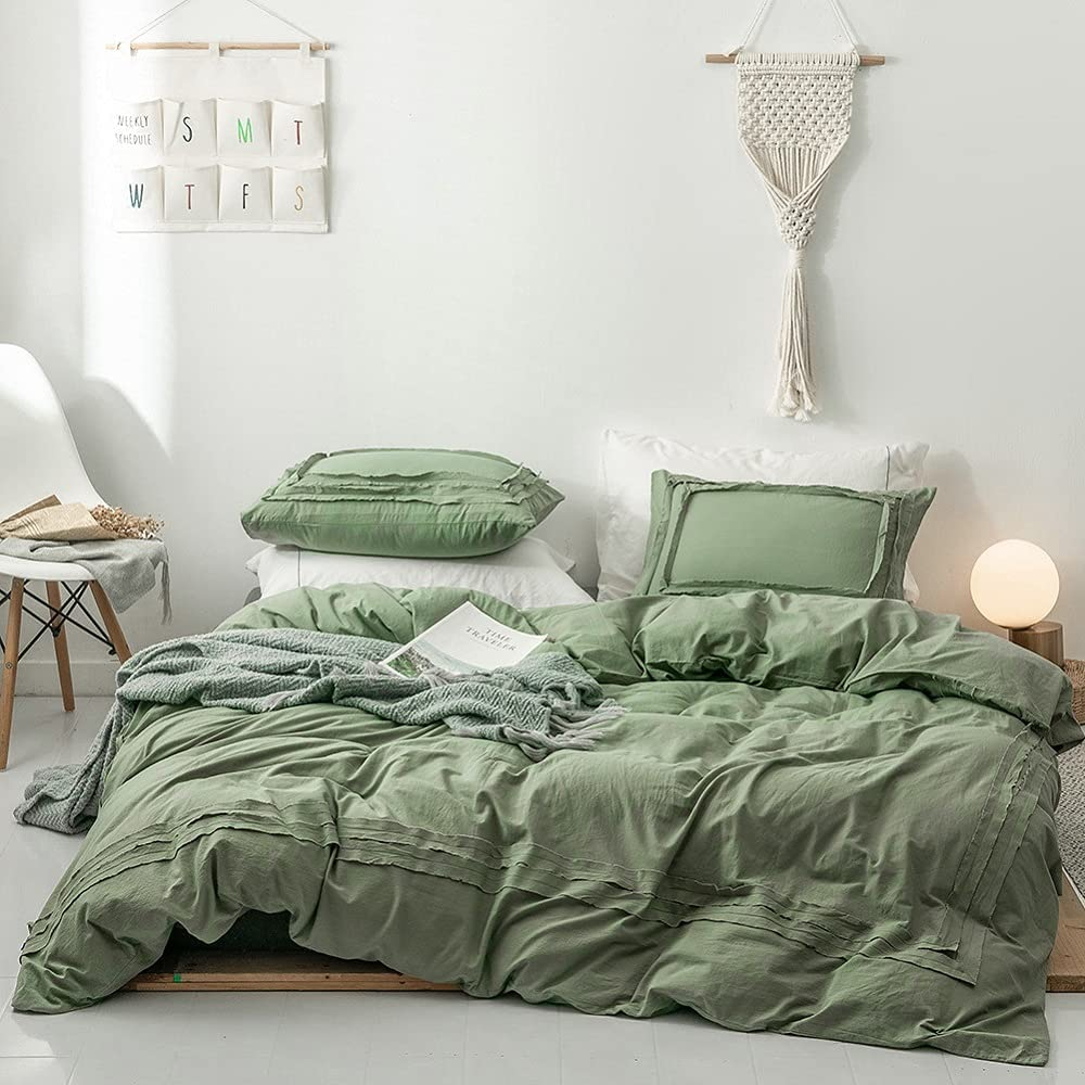 Olive Green Duvet Cover Queen 3 Bedding Set Luxury goods Piece Complete Free Shipping Washed Cotton