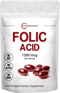 Micro Ingredients Folic Acid 1200mcg, 500 Softgels, Premium Folic Acid Vitamin, Supports Heart Health and P...