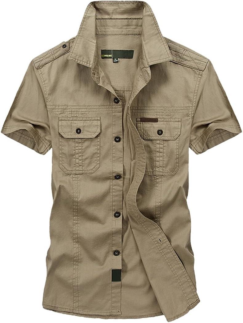 Modern Fantasy Men's Military Dress Stylish Short Sleeve Cotton Button Down Shirts