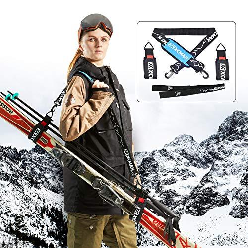 XCMAN - Correa de esquí y bastones de esquí alpino, kit de