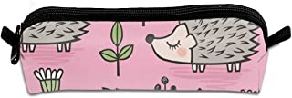 Hedgehog with Leaves and Flowers On Pink Students Canvas Pencil Case Pen Bag Pouch Stationary Case Makeup Cosmetic Bag 21 X 5.5 X 5 cm