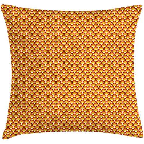 SSHELEY Abstract Kussen Kussensloop, Continu Vlammende Vuur Tangerine Tonen, Vierkante Kussensloop, Vermilion Mosterd