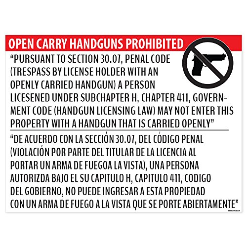 """Open Carry Handguns Prohibited"" Section 30.07 Poster - 18x24 Window Cling - Inside Facing Out"
