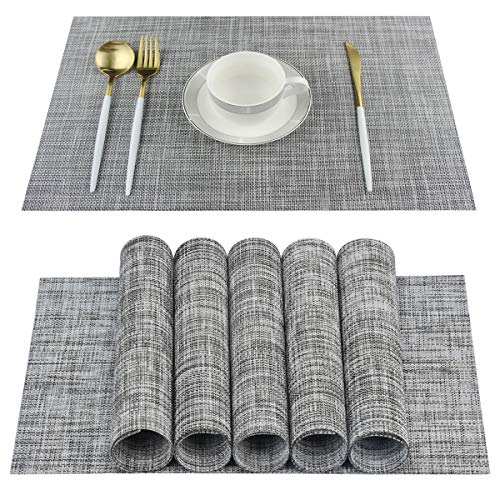 Placemats Set of 6 for Dining Table Washable PVC Woven Vinyl Placemat Non-Slip Heat Resistant Kitchen Table Mats Easy to Clean (gray)