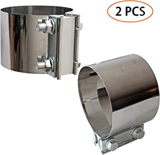 2PCS Exhaust Clamps 4 Inch Butt Joint Exhaust Pipe Muffler Clamp Band Stainless Steel Exhaust System Connection for Cars