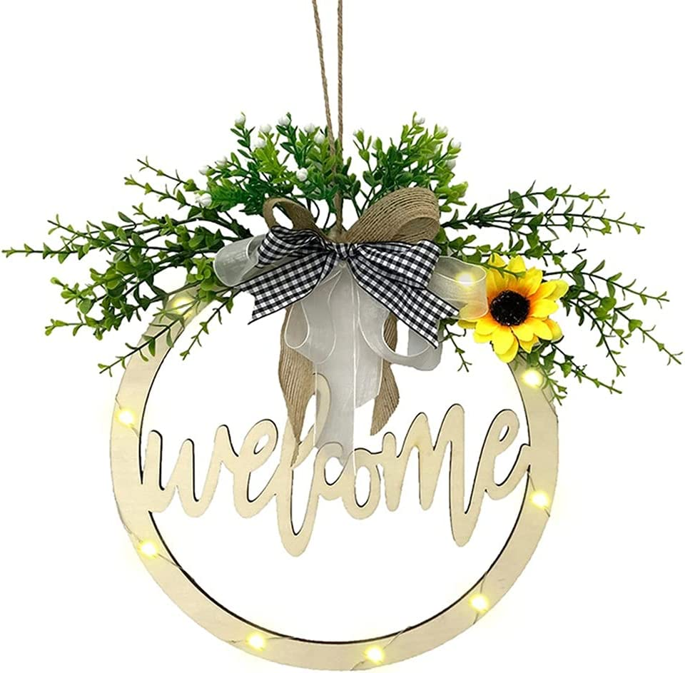 ZNBJJWCP Complete Free Shipping Welcome Wreath Decor Door Out Hanging Woo Hollow Letter Under blast sales