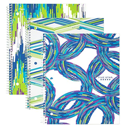 """Five Star Spiral Notebook, 1 Subject, College Ruled Paper, 100 Sheets, 11"""" x 8-1/2"""" Sheet Size, Assorted Cool Designs, 3 Pack (38775)"""
