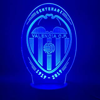 Lámpara De Ilusión, Led Degradado Táctil De 7 Colores De Luz Nocturna, Lámpara De Mesa De Acrílico 3D Lámpara De Ambiente Del Club De Fútbol Valencia
