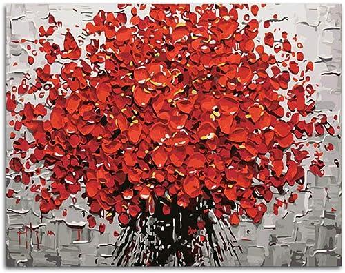 presentando toda la última moda de la calle NGDDXTG NGDDXTG NGDDXTG Flores Rojas DIY Pintura Digital por números Pintura Abstracta Arte de la Parojo Pintura de la Lona para la decoración casera  precio al por mayor