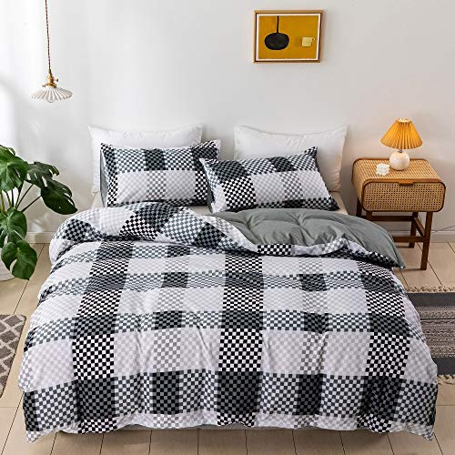 Duvet Cover King Size, Ultra Soft Lightweight Microfiber 3 Pieces (1 Duvet Cover + 2 Pillow Shams) Black and White Grid Farmhouse Bedding Duvet Covers with Zipper Closure