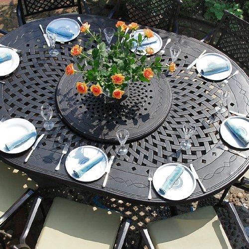 Lazy Susan Gloria 210 x 150cm Ovales Gartenmöbelset Alu - 1 GLORIA Tisch + 8 JANE Stühle