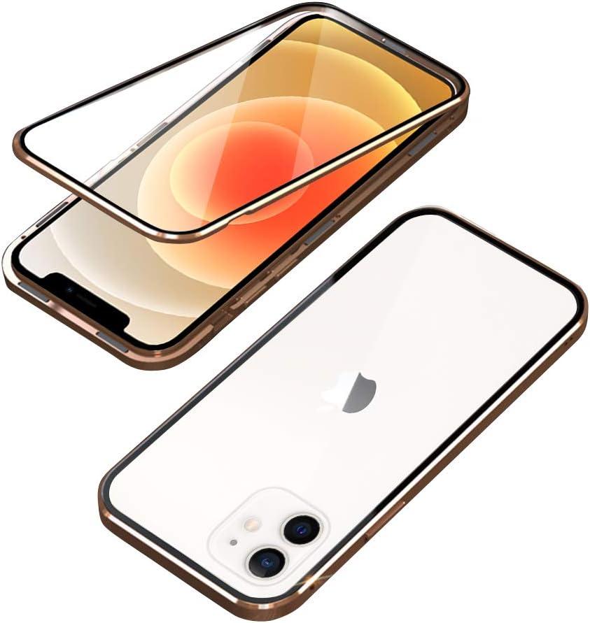 Ellmi Funda para iPhone 12 Pro Adsorci/ón Magn/ética conchoques de Metal con 360 Grados Protecci/ón Case Cover Transparente Ambos Lados Vidrio Templado Cubierta para iPhone 12 Pro Negro 6.1 Inch