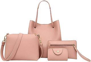 4Pcs Women Bags, Leather Handbag+Crossbody Bag+Messenger Bag+Card Package Totes Shoulder Bag Backpacks Wallet Purse