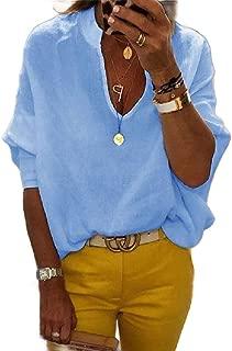 Mogogo Women's Knitting V Neck Pullover Oversized Leisure T-Shirt Top
