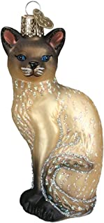 Old World Christmas Glass Blown Siamese Cat Tan Ornament