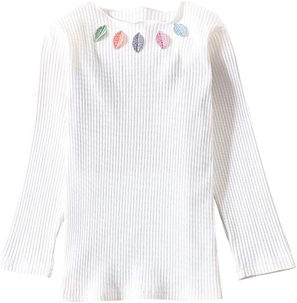 Teen Kids Toddler Baby Girls Pullover Clothes,Fluted Collar Striped Leaves Bottoming T-Shirt Long Sleeve Blouse Tops
