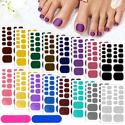 352 Piece 16 Sheet Foot Nail Sticker for Women & Girl,TOROKOM Full Toe Nail Wraps Art Polish Stickers 3D Self-Adhesive Glitter Solid Color Toe Nail Stickers Strips with Nail File for Women Girls