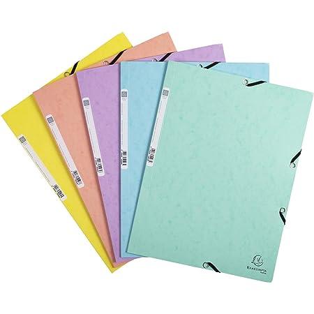 Exacompta 55560E Chemise à élastiques Aquarel avec 3 rabats en carte lustrée 400g/m2 pour classement de documents A4 Couleurs assorties - 1 unité
