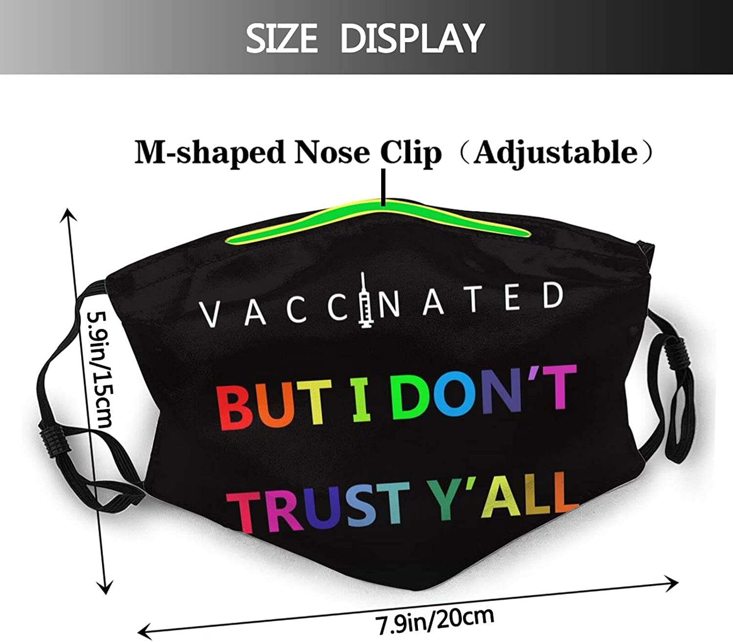 Fully Vaccinated Face Mask Washable Adjustable Balaclava Reusable Fashion Scarves for Unisex with 2 Pcs Filters