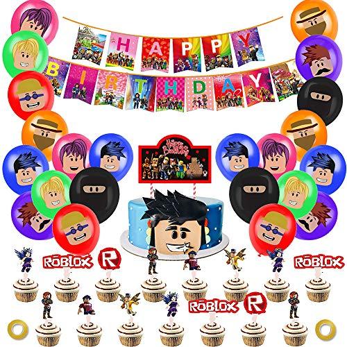 Roboterblöcke Spiel-Partyzubehör für Kindergeburtstag Roblox Dekorationen inklusive Banner Ballons Kuchen...