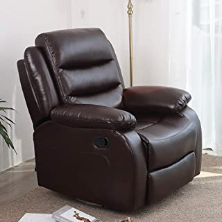 Irene House 360 Degree Upholstered Swivel Glider Rocker Recliner Chair with Breath Leather,so Soft comforble Reclining (Brown)