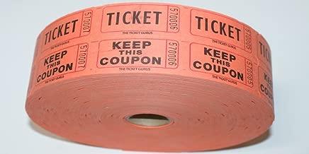 THE TICKET GURUS-Double Raffle Ticket Roll : roll of 2000-(Orange)